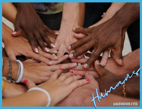Human characters in storytelling: hands of different colors come together to form a circle