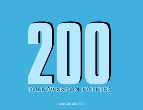 Social media milestones@ 200 followers on twitter